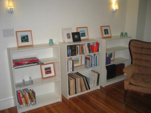 Living Room after with bookshelves