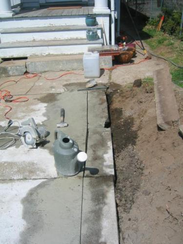 cutting the concrete