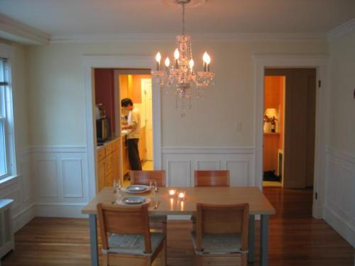 dining room with new chandelier